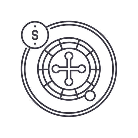 Roulette icon, linear isolated illustration, thin line vector, web design sign, outline concept symbol with editable stroke on white background. 矢量图像