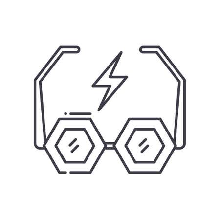 Rock glasses icon, linear isolated illustration, thin line vector, web design sign, outline concept symbol with editable stroke on white background. Ilustração