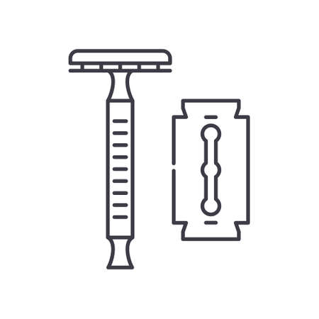 Razor for men icon, linear isolated illustration, thin line vector, web design sign, outline concept symbol with editable stroke on white background. 矢量图像