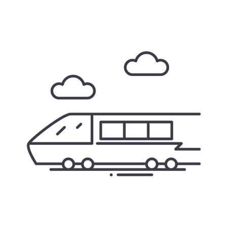 Rail transport icon, linear isolated illustration, thin line vector, web design sign, outline concept symbol with editable stroke on white background.