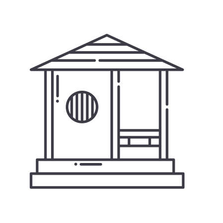 Japanese pavilion icon, linear isolated illustration, thin line vector, web design sign, outline concept symbol with editable stroke on white background.