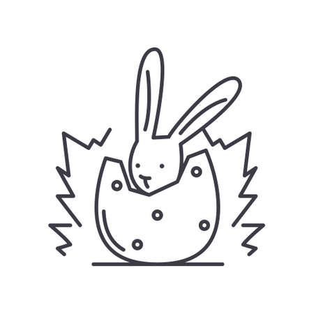 Rabbit in egg icon, linear isolated illustration, thin line vector, web design sign, outline concept symbol with editable stroke on white background. Ilustração