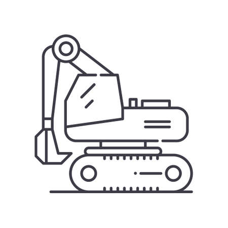 Compact excavator concept icon, linear isolated illustration, thin line vector, web design sign, outline concept symbol with editable stroke on white background.