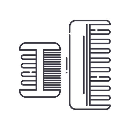 Comb icon, linear isolated illustration, thin line vector, web design sign, outline concept symbol with editable stroke on white background. 矢量图像