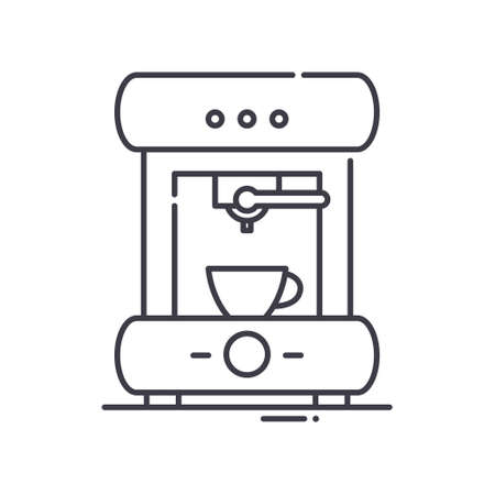 Coffee maker icon, linear isolated illustration, thin line vector, web design sign, outline concept symbol with editable stroke on white background.
