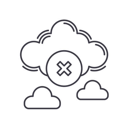 Cloud delete icon, linear isolated illustration, thin line vector, web design sign, outline concept symbol with editable stroke on white background.