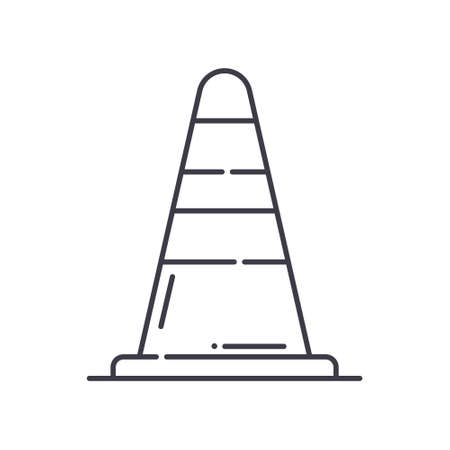 Traffic cone icon, linear isolated illustration, thin line vector, web design sign, outline concept symbol with editable stroke on white background. Иллюстрация