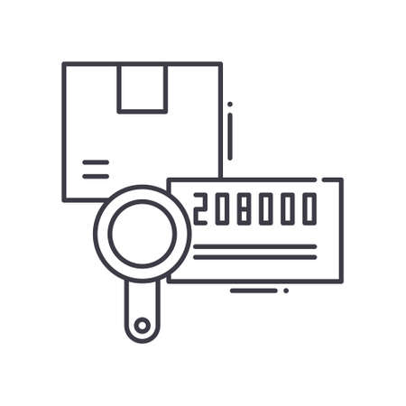 Tracking number concept icon, linear isolated illustration, thin line vector, web design sign, outline concept symbol with editable stroke on white background.