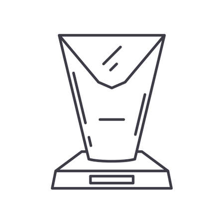 Top award icon, linear isolated illustration, thin line vector, web design sign, outline concept symbol with editable stroke on white background. 向量圖像