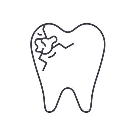 Tooth decay icon, linear isolated illustration, thin line vector, web design sign, outline concept symbol with editable stroke on white background.
