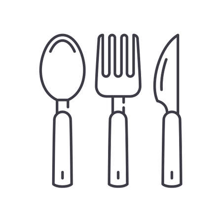 Spoon fork and knife icon, linear isolated illustration, thin line vector, web design sign, outline concept symbol with editable stroke on white background.