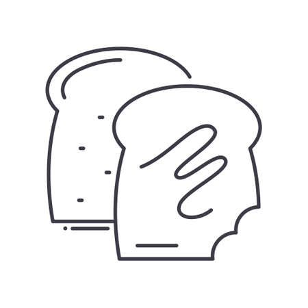 Toast icon, linear isolated illustration, thin line vector, web design sign, outline concept symbol with editable stroke on white background.