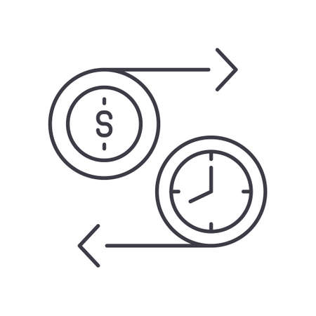 Time is money concept icon, linear isolated illustration, thin line vector, web design sign, outline concept symbol with editable stroke on white background.