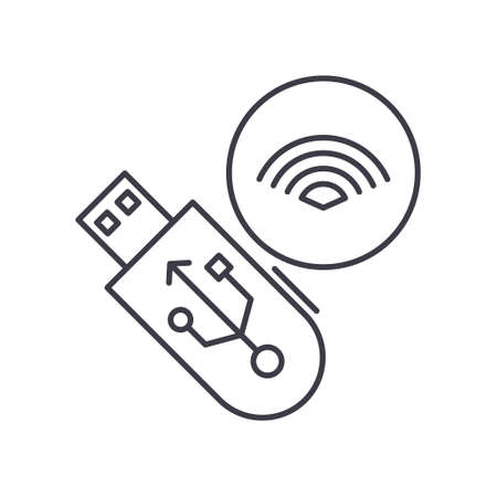 Wireless usb device icon, linear isolated illustration, thin line vector, web design sign, outline concept symbol with editable stroke on white background.