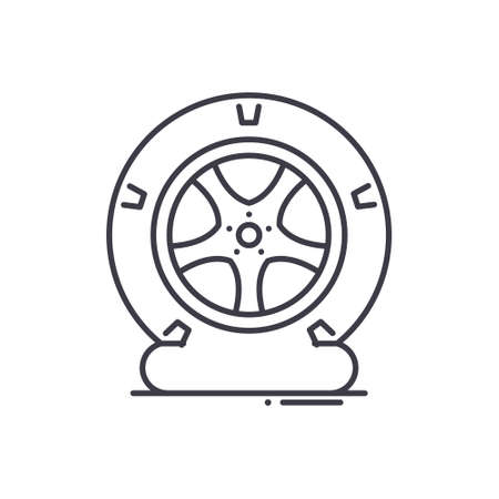 Tire icon, linear isolated illustration, thin line vector, web design sign, outline concept symbol with editable stroke on white background.