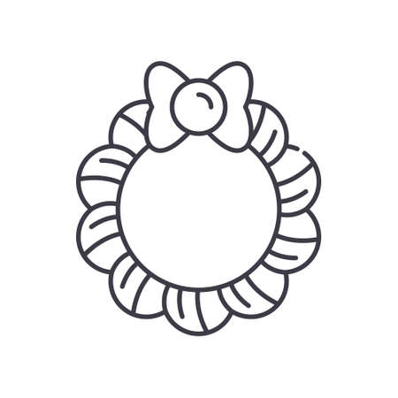 Wreath icon, linear isolated illustration, thin line vector, web design sign, outline concept symbol with editable stroke on white background. 向量圖像