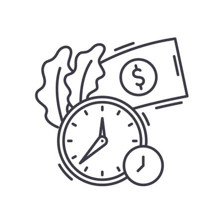 Timing concept icon, linear isolated illustration, thin line vector, web design sign, outline concept symbol with editable stroke on white background.