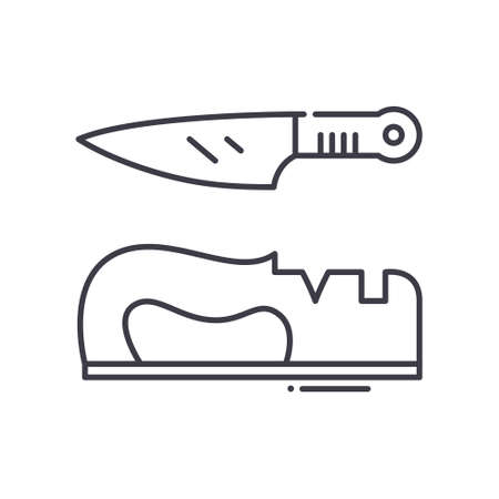 Knife sharpener icon, linear isolated illustration, thin line vector, web design sign, outline concept symbol with editable stroke on white background. 矢量图像