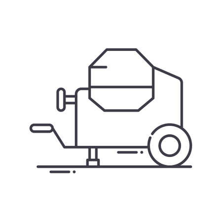 Concrete mixer icon, linear isolated illustration, thin line vector, web design sign, outline concept symbol with editable stroke on white background. Çizim