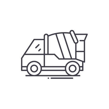 Concrete mixer truck icon, linear isolated illustration, thin line vector, web design sign, outline concept symbol with editable stroke on white background.