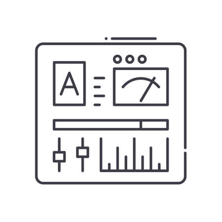 Control panel icon, linear isolated illustration, thin line vector, web design sign, outline concept symbol with editable stroke on white background.