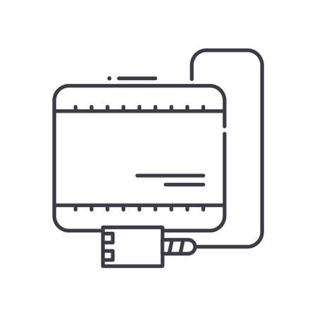 Computer battery icon, linear isolated illustration, thin line vector, web design sign, outline concept symbol with editable stroke on white background.
