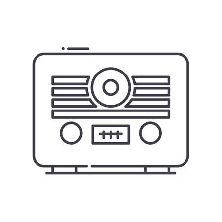 Retro radio icon, linear isolated illustration, thin line vector, web design sign, outline concept symbol with editable stroke on white background.