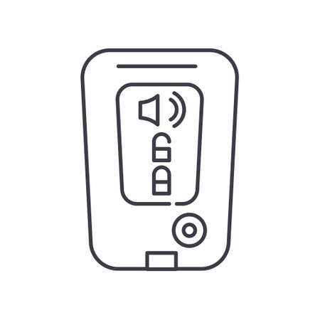 Remote keyless system icon, linear isolated illustration, thin line vector, web design sign, outline concept symbol with editable stroke on white background. Vettoriali