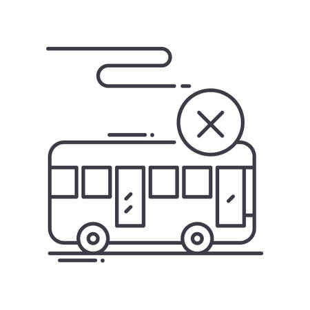 Rejection of transport icon, linear isolated illustration, thin line vector, web design sign, outline concept symbol with editable stroke on white background. Ilustração