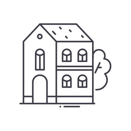 Two level house icon, linear isolated illustration, thin line vector, web design sign, outline concept symbol with editable stroke on white background. Illusztráció