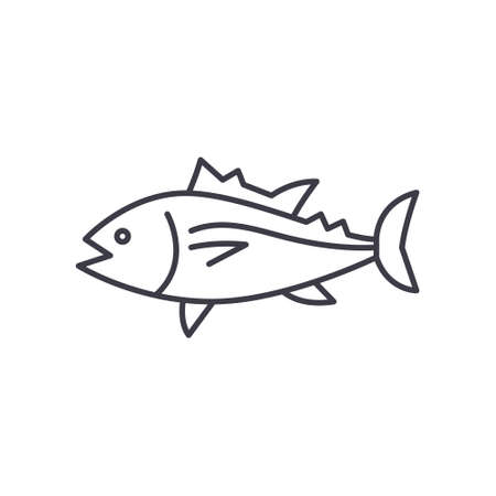 Tuna icon, linear isolated illustration, thin line vector, web design sign, outline concept symbol with editable stroke on white background. Çizim