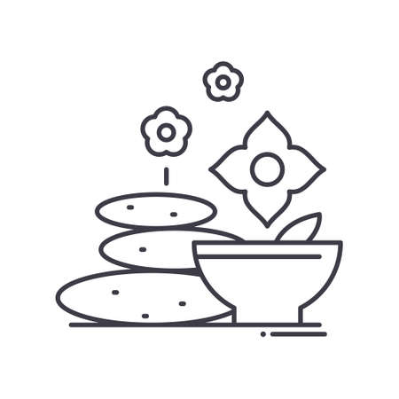 Relax spa icon, linear isolated illustration, thin line vector, web design sign, outline concept symbol with editable stroke on white background.