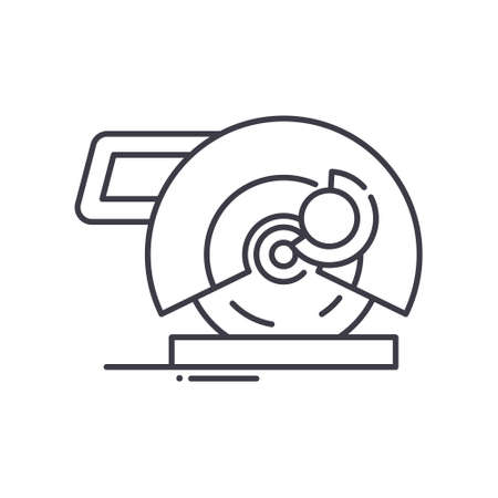 Steel cut off machine concept icon, linear isolated illustration, thin line vector, web design sign, outline concept symbol with editable stroke on white background. Ilustração