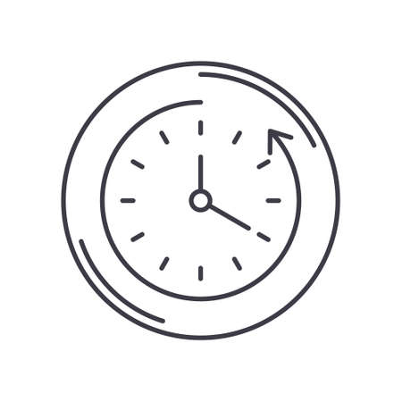 Turn off clock icon, linear isolated illustration, thin line vector, web design sign, outline concept symbol with editable stroke on white background. 向量圖像