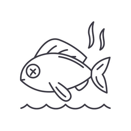 Stinky fish icon, linear isolated illustration, thin line vector, web design sign, outline concept symbol with editable stroke on white background.