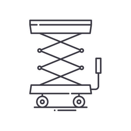 Scissor lift icon, linear isolated illustration, thin line vector, web design sign, outline concept symbol with editable stroke on white background.