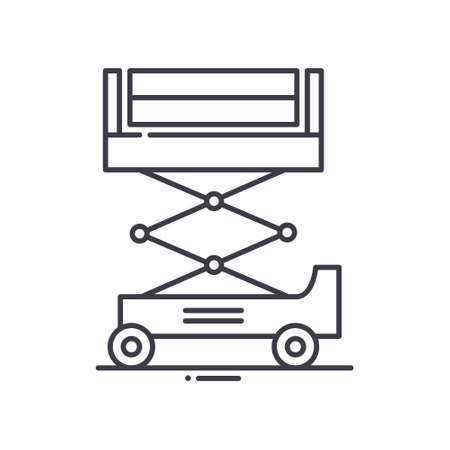 Scissor lift concept icon, linear isolated illustration, thin line vector, web design sign, outline concept symbol with editable stroke on white background.