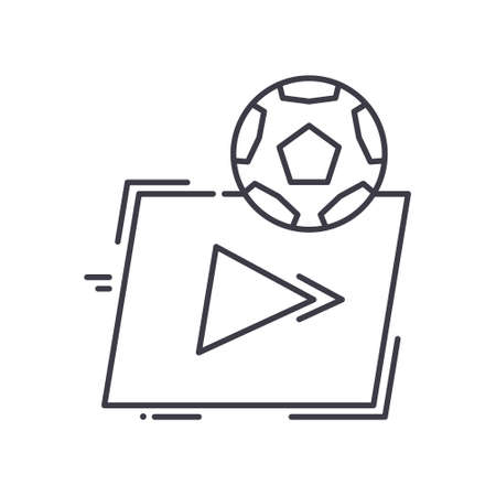 Live football icon, linear isolated illustration, thin line vector, web design sign, outline concept symbol with editable stroke on white background. Çizim