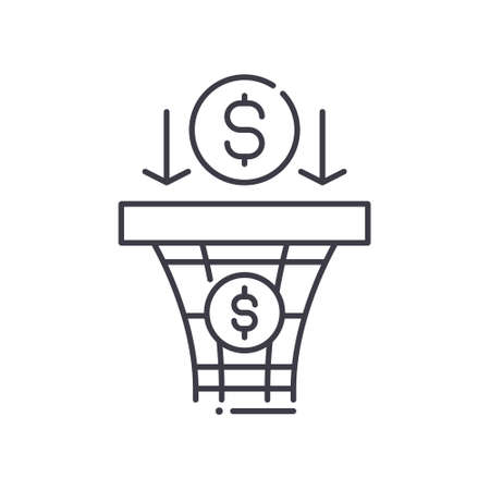 Sales pipeline icon, linear isolated illustration, thin line vector, web design sign, outline concept symbol with editable stroke on white background.