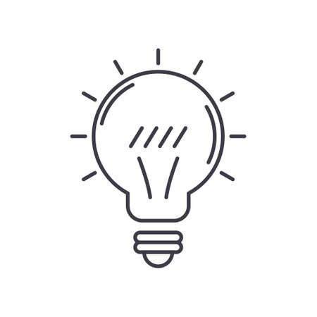 Light bulb idea icon, linear isolated illustration, thin line vector, web design sign, outline concept symbol with editable stroke on white background. Vetores