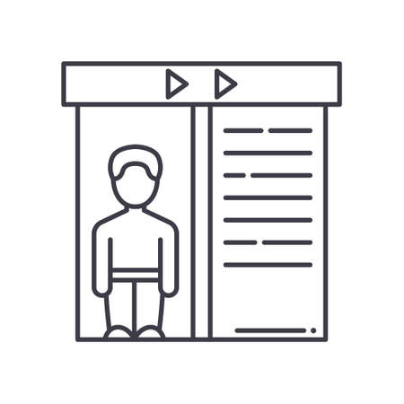 Lift icon, linear isolated illustration, thin line vector, web design sign, outline concept symbol with editable stroke on white background.