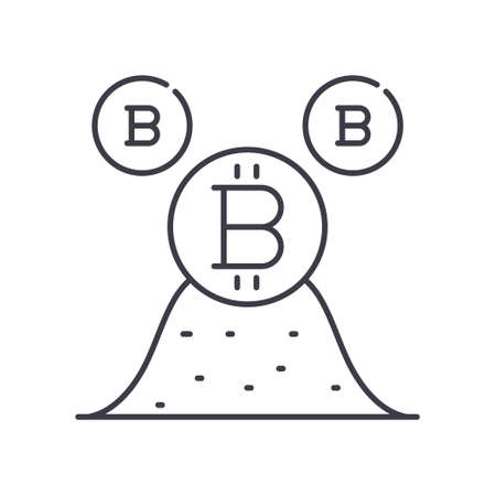 Cryptocurrency icon, linear isolated illustration, thin line vector, web design sign, outline concept symbol with editable stroke on white background.
