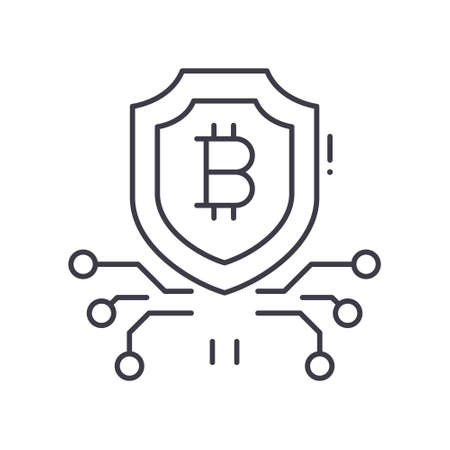 Cryptocurrency image icon, linear isolated illustration, thin line vector, web design sign, outline concept symbol with editable stroke on white background. Stock Illustratie