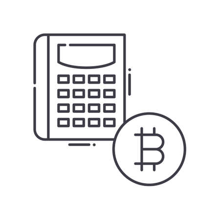 Cryptocurrency balance icon, linear isolated illustration, thin line vector, web design sign, outline concept symbol with editable stroke on white background.