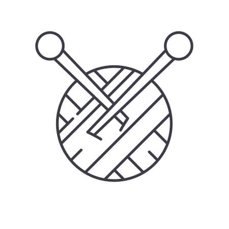 Crochet hook and yarn set icon, linear isolated illustration, thin line vector, web design sign, outline concept symbol with editable stroke on white background.
