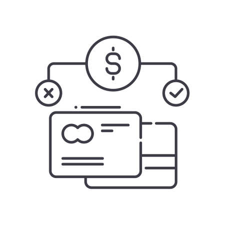Credit history icon, linear isolated illustration, thin line vector, web design sign, outline concept symbol with editable stroke on white background.
