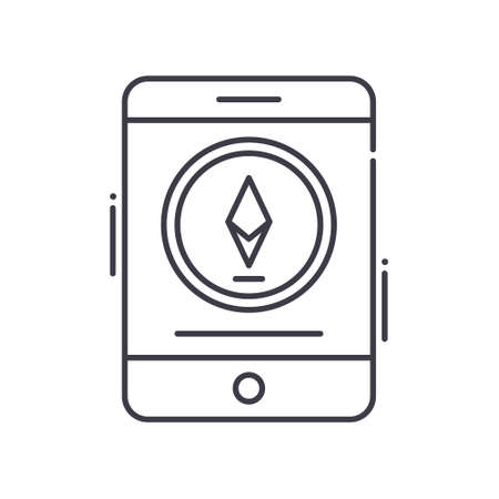 Digital currency icon, linear isolated illustration, thin line vector, web design sign, outline concept symbol with editable stroke on white background. Çizim