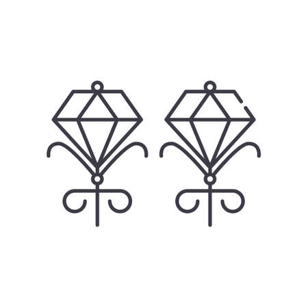 Diamond icon, linear isolated illustration, thin line vector, web design sign, outline concept symbol with editable stroke on white background.