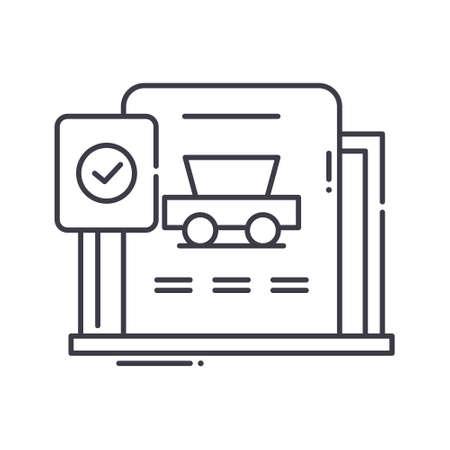 Diagnostic car icon, linear isolated illustration, thin line vector, web design sign, outline concept symbol with editable stroke on white background. Ilustração