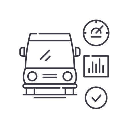 Diagnostic car concept icon, linear isolated illustration, thin line vector, web design sign, outline concept symbol with editable stroke on white background.